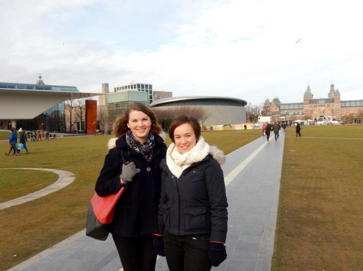That's it behind Katherine and Erin.  My guidebook called it 'uncompromisingly modern'.